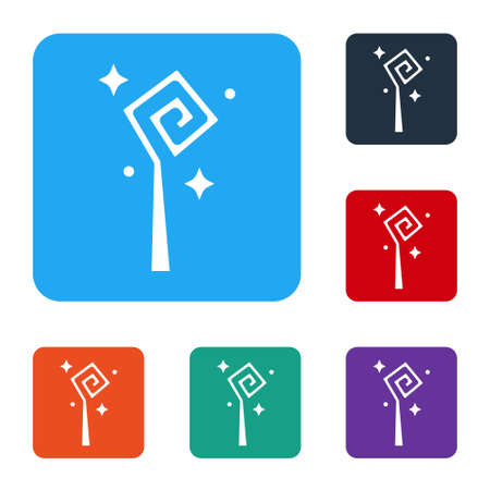 White Magic staff icon isolated on white background. Magic wand, scepter, stick, rod. Set icons in color square buttons. Vector Ilustración de vector