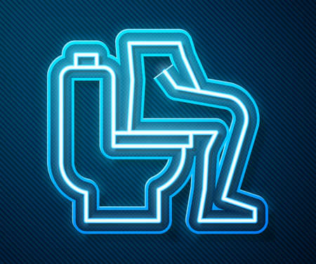 Glowing neon line Men sitting on the toilet and Constipation are experiencing severe abdominal pain icon isolated on blue background. Vector