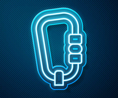 Glowing neon line Carabiner icon isolated on blue background. Extreme sport. Sport equipment. Vector