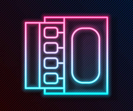 Glowing neon line Open matchbox and matches icon isolated on black background. Vector