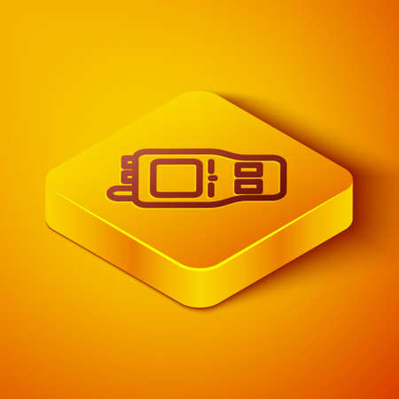 Isometric line Walkie talkie icon isolated on orange background. Portable radio transmitter icon. Radio transceiver sign. Yellow square button. Vector