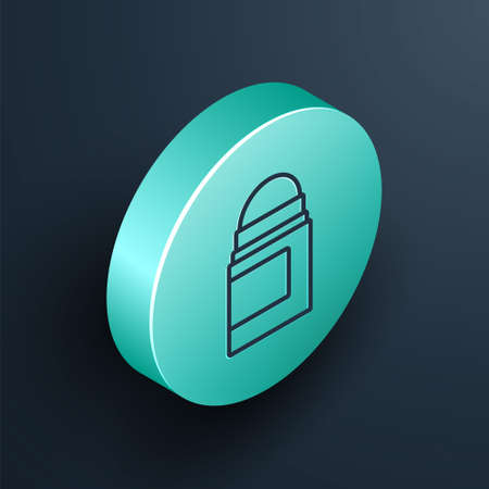 Isometric line Antiperspirant deodorant roll icon isolated on black background. Cosmetic for body hygiene. Turquoise circle button. Vector