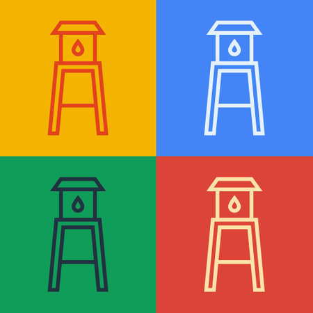 Pop art line Water tower icon isolated on color background. Vector
