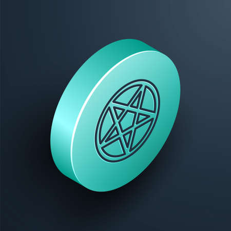 Isometric line Pentagram in a circle icon isolated on black background. Magic occult star symbol. Turquoise circle button. Vector