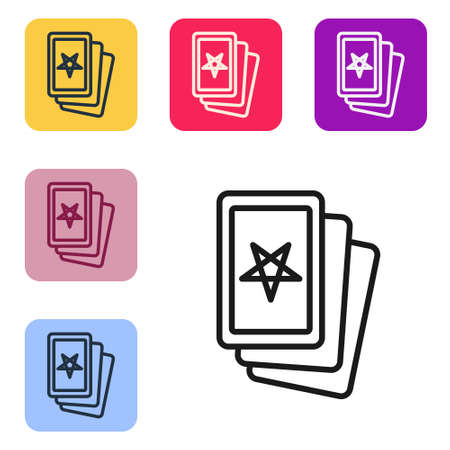 Black line Three tarot cards icon isolated on white background. Magic occult set of tarot cards. Set icons in color square buttons. Vector