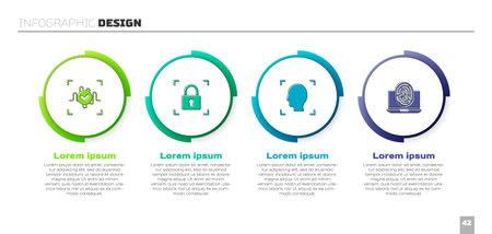 Set Voice recognition, Fingerprint with lock, Face and Laptop fingerprint. Business infographic template. Vector