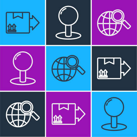 Set line Cardboard box with traffic symbol, Magnifying glass with globe and Push pin icon. Vector
