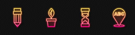 Set line Old hourglass with sand, Pencil eraser, Plant in pot and Alphabet. Glowing neon icon. Vector