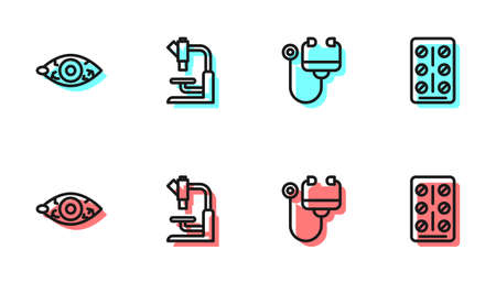 Set line Stethoscope, Reddish eye, Microscope and Pills in blister pack icon. Vector