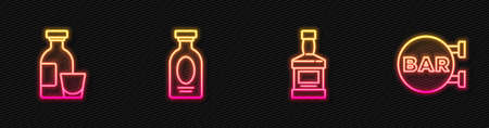 Set line Whiskey bottle, Alcohol drink Rum, and Street signboard with Bar. Glowing neon icon. Vector