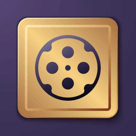 Purple Revolver cylinder icon isolated on purple background. Gold square button. Vector Ilustrace