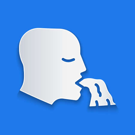 Paper cut Vomiting man icon isolated on blue background. Symptom of disease, problem with health. Nausea, food poisoning, alcohol poisoning concept. Paper art style. Vector