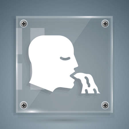 White Vomiting man icon isolated on grey background. Symptom of disease, problem with health. Nausea, food poisoning, alcohol poisoning concept. Square glass panels. Vector