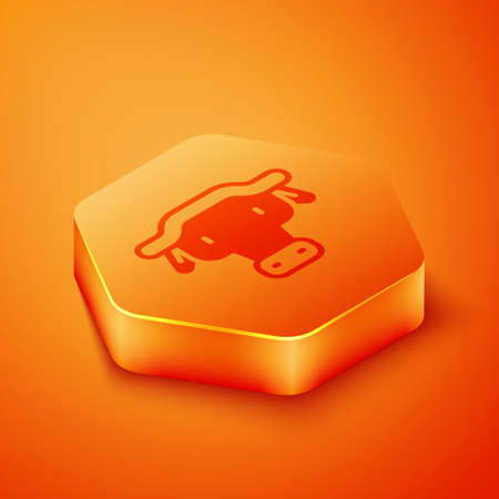 Isometric African buffalo head icon isolated on orange background. Mascot, african savanna animal. Wild ox, carabao or bison bull with fused horns. Orange hexagon button. Vector