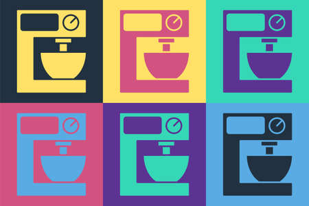 Pop art Electric mixer icon isolated on color background. Kitchen blender. Vector