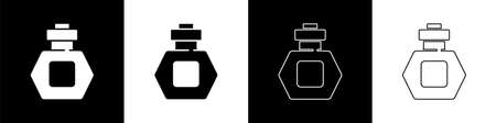 Set Perfume icon isolated on black and white background. Vector