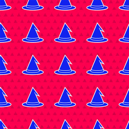 Blue Witch hat icon isolated seamless pattern on red background. Happy Halloween party. Vector