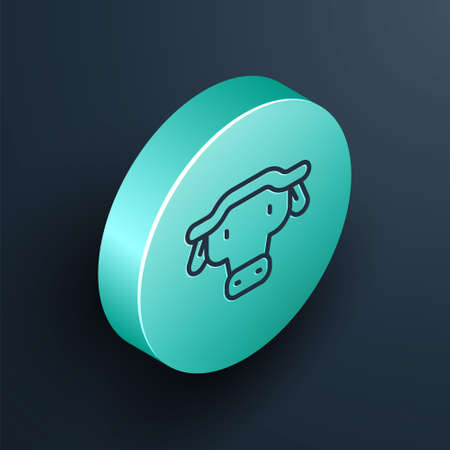 Isometric line African buffalo head icon isolated on black background. Mascot, african savanna animal. Wild ox, carabao or bison bull with fused horns. Turquoise circle button. Vector