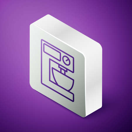 Isometric line Electric mixer icon isolated on purple background. Kitchen blender. Silver square button. Vector Vecteurs