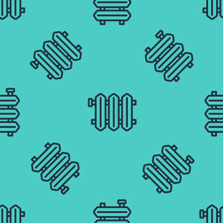 Black line Heating radiator icon isolated seamless pattern on green background. Vector