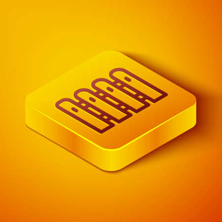 Isometric line Garden fence wooden icon isolated on orange background. Yellow square button. Vector