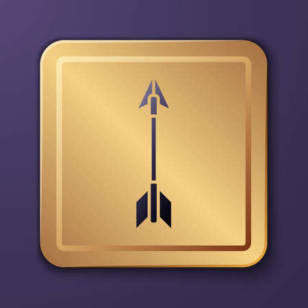 Purple Crossed arrows icon isolated on purple background. Gold square button. Vector