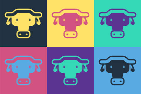 Pop art African buffalo head icon isolated on color background. Mascot, african savanna animal. Wild ox, carabao or bison bull with fused horns. Vector