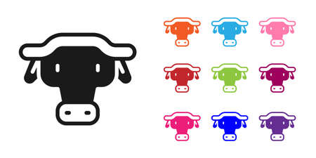 Black African buffalo head icon isolated on white background. Mascot, african savanna animal. Wild ox, carabao or bison bull with fused horns. Set icons colorful. Vector