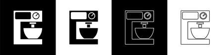 Set Electric mixer icon isolated on black and white background. Kitchen blender. Vector