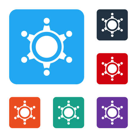 White Hexagram sheriff icon isolated on white background. Police badge icon. Set icons in color square buttons. Vector