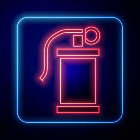 Glowing neon Hand smoke grenade icon isolated on blue background. Bomb explosion. Vector