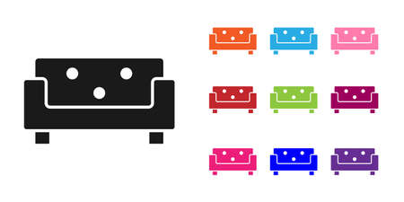 Black Sofa icon isolated on white background. Set icons colorful. Vector
