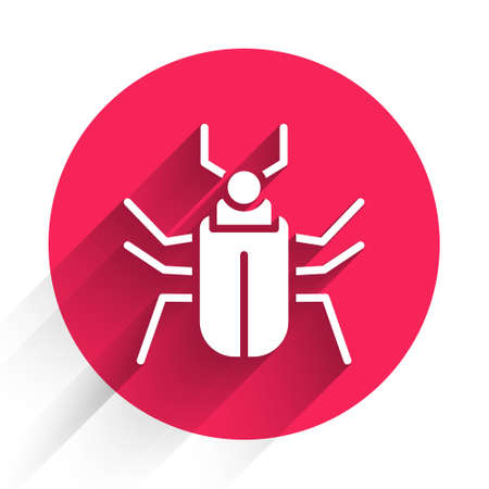 White Insect fly icon isolated with long shadow. Red circle button. Vector