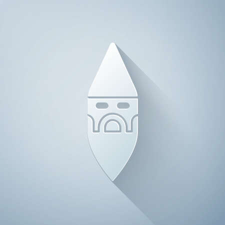 Paper cut Wizard warlock icon isolated on grey background. Paper art style. Vector