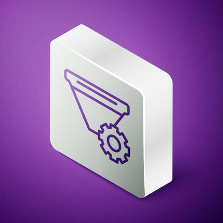 Isometric line Filter setting icon isolated on purple background. Silver square button. Vector