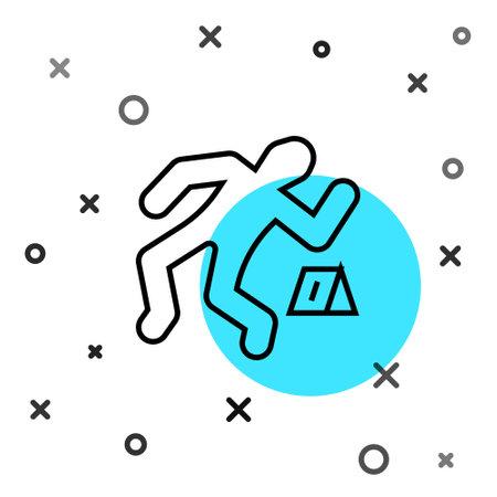 Black line Crime scene icon isolated on white background. Random dynamic shapes. Vector