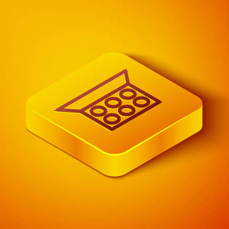 Isometric line Makeup powder with mirror icon isolated on orange background. Yellow square button. Vector