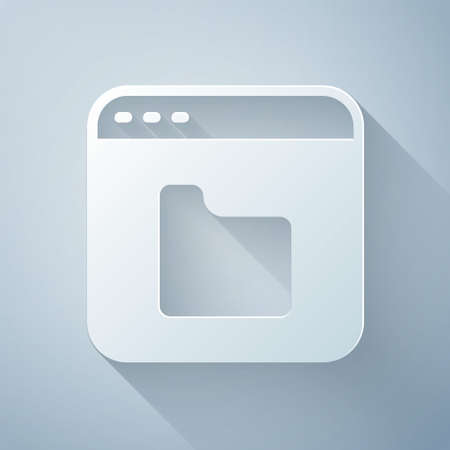 Paper cut Browser files icon isolated on grey background. Paper art style. Vector