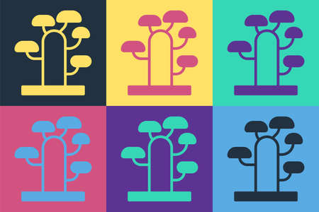 Pop art African tree icon isolated on color background. Baobab, acacia and other. Vector Illustration