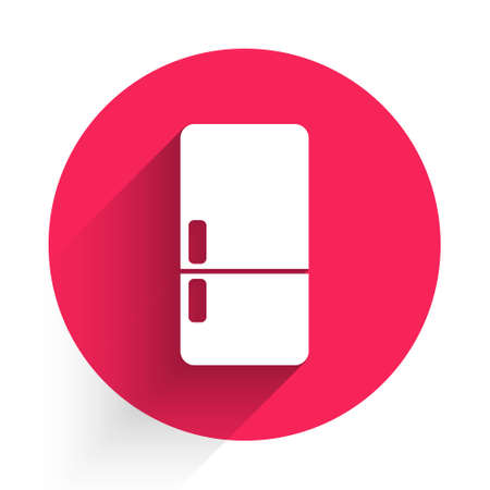 White Refrigerator icon isolated with long shadow. Fridge freezer refrigerator. Household tech and appliances. Red circle button. Vector