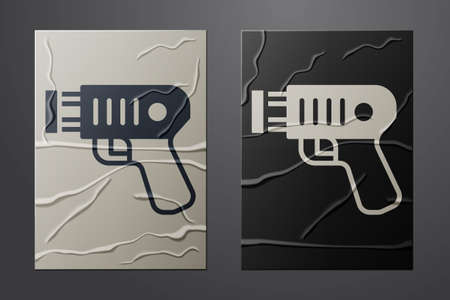 White Police electric shocker icon isolated on crumpled paper background. Shocker for protection. Taser is an electric weapon. Paper art style. Vector