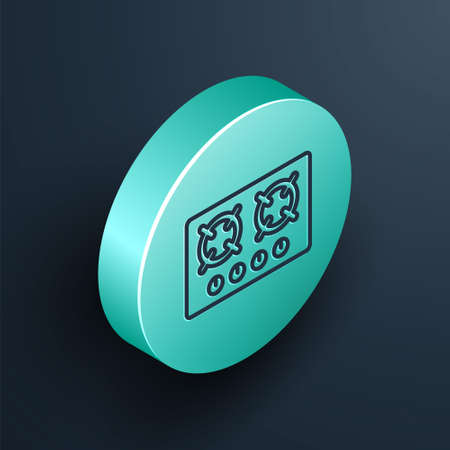 Isometric line Gas stove icon isolated on black background. Cooktop sign. Hob with four circle burners. Turquoise circle button. Vector
