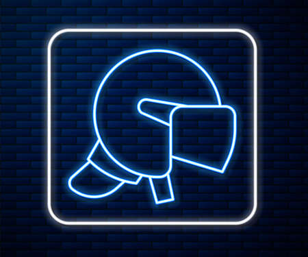 Glowing neon line Police helmet icon isolated on brick wall background. Military helmet. Vector