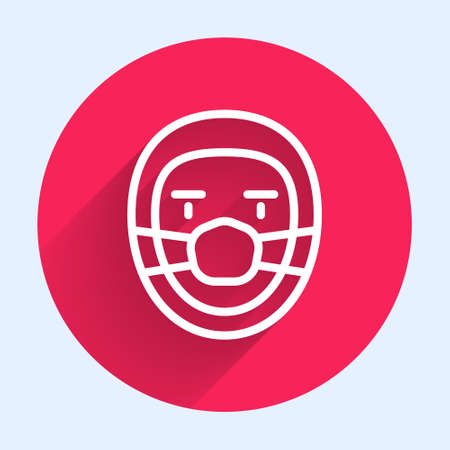 White line Doctor pathologist icon isolated with long shadow. Red circle button. Vector