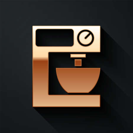 Gold Electric mixer icon isolated on black background. Kitchen blender. Long shadow style. Vector