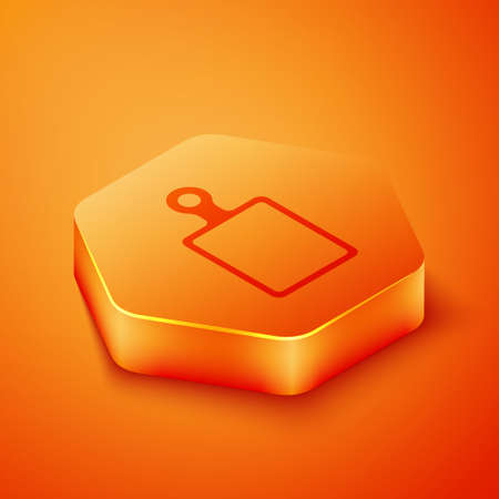 Isometric Cutting board icon isolated on orange background. Chopping Board symbol. Orange hexagon button. Vector