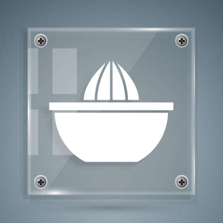 White Citrus fruit juicer icon isolated on grey background. Square glass panels. Vector