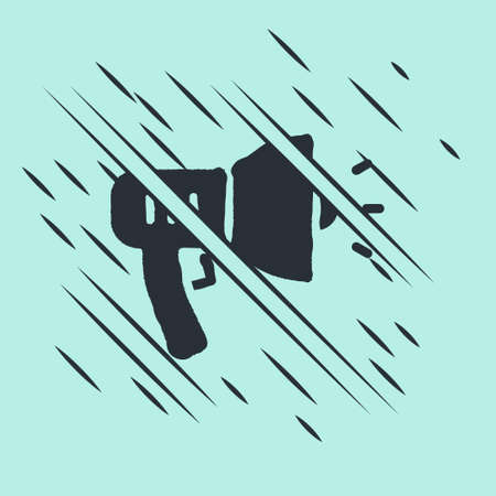 Black Police megaphone icon isolated on green background. Glitch style. Vector