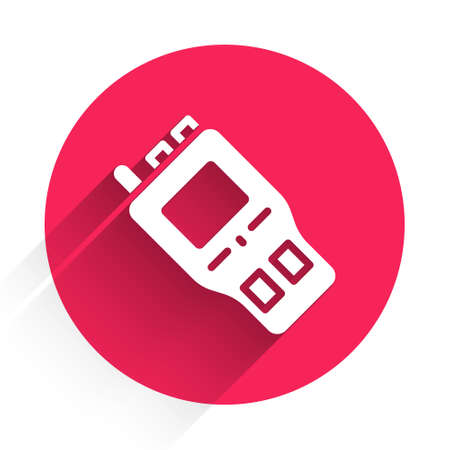 White Walkie talkie icon isolated with long shadow. Portable radio transmitter icon. Radio transceiver sign. Red circle button. Vector
