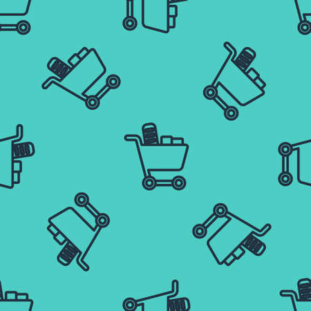 Black line Shopping cart and food icon isolated seamless pattern on green background. Food store, supermarket. Vector